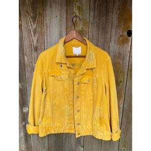 ZARA yellow distressed oversized jean jacket